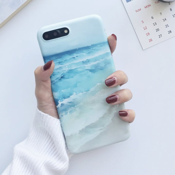 Blue Sea Waves Painted TPU case for iPhone