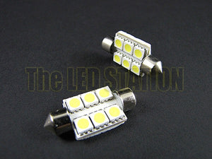 39mm 6-SMD LED Bulb White (Pair)