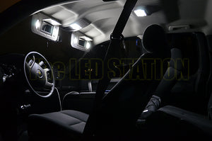 White LED Interior Dome Sunvisor Lights Silverado Ext/Crew Cab 07-12