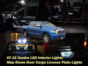 White LED Interior Dome Door Cargo License Plate Lights Kit 07-13 Tundra