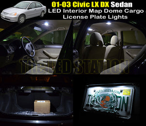 White LED Interior Map Dome Trunk License Plate Lights 01-03 Civic Sedan LX DX