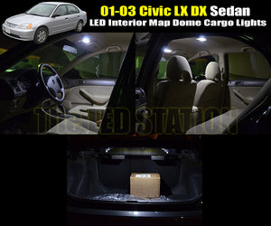 Wihte LED Interior Map Dome Cargo Lights 01-03 Civic LX DX Sedan