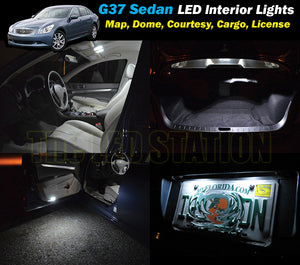 White SMD LED Interior Cargo and License Plate Lights Package G37 Sedan