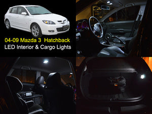 04-09 Mazda 3 Hatchback White SMD LED Interior and Cargo Lights Package