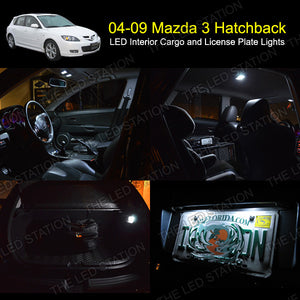 04-09 Mazda 3 Hatchback White SMD LED Interior Cargo and License Plate Lights Package