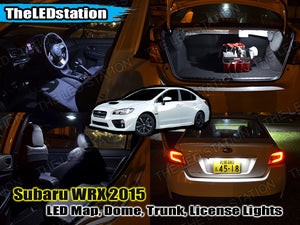 White SMD LED Interior Map Dome Trunk License Plate Lights 2015-2017 WRX