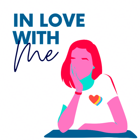 ic: Picture of a cartoon girl sitting with the words, In Love with Me, written above her head