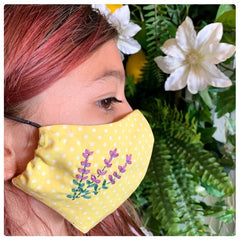 Girl with Yellow Face Mask with Lavender Embroidery