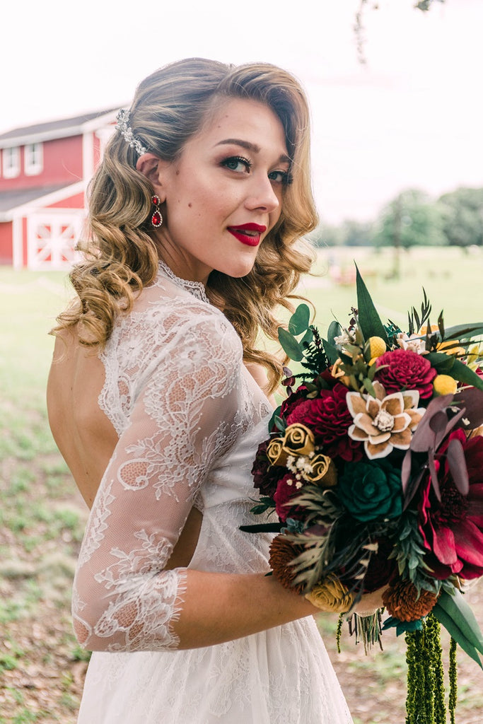 Fall Red Barn Wildflower Wood Flower Bouquet - PineandPetalWeddings