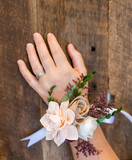 Garden Wrist Corsage - Wood Flowers  Pine and Petal Weddings