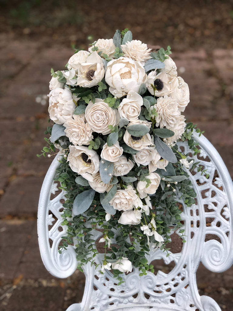 Custom Cascading Sola Flower Bouquet Bouquets Pine and Petal Weddings