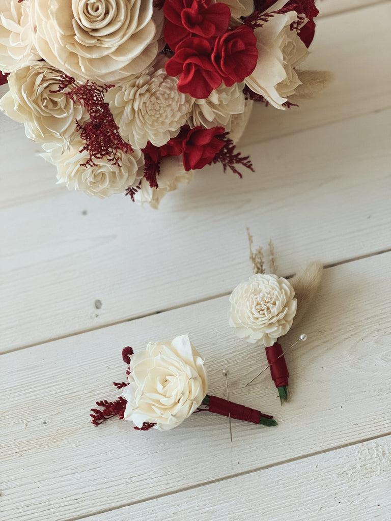 Red Dunes Boutonnière - PineandPetalWeddings