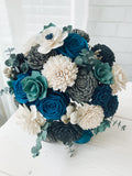 Teal, Grey and White Bouquet Bouquets Pine and Petal Weddings