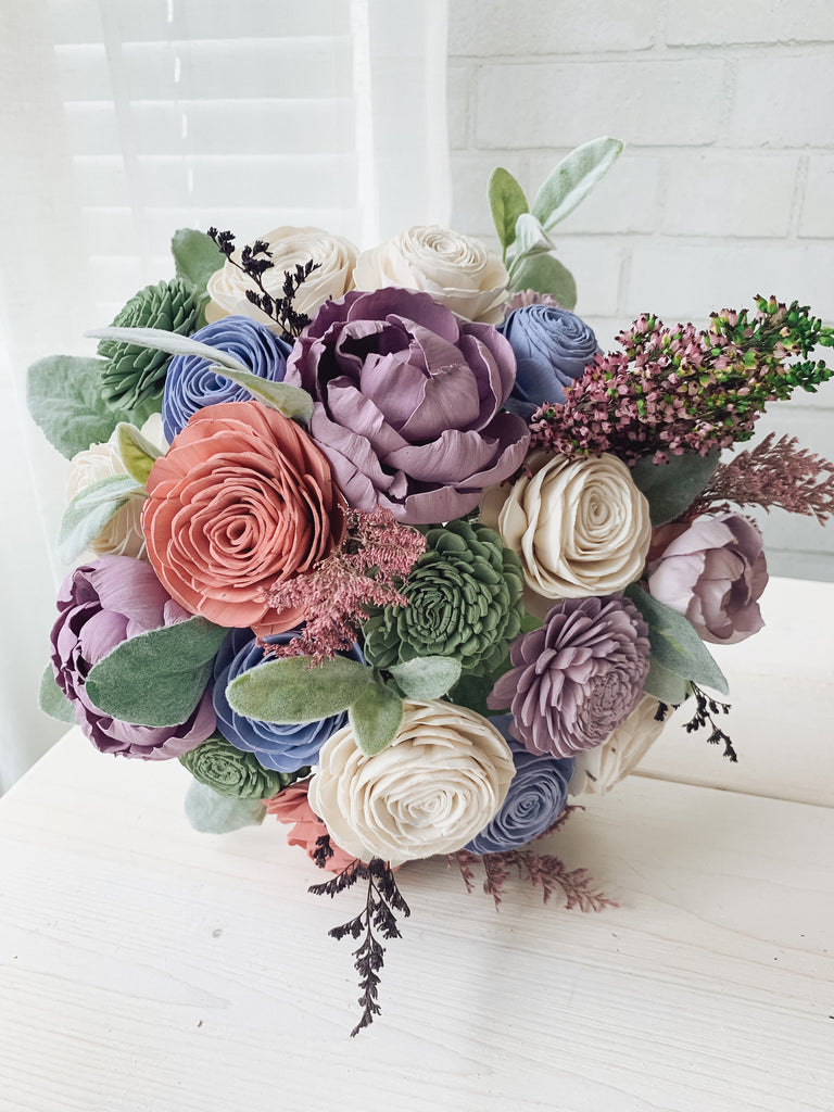 Pink, Purple and Blue Pastel Bouquet - PineandPetalWeddings