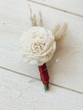 Red Dunes Boutonnière Boutonnières & Corsages Pine and Petal Weddings