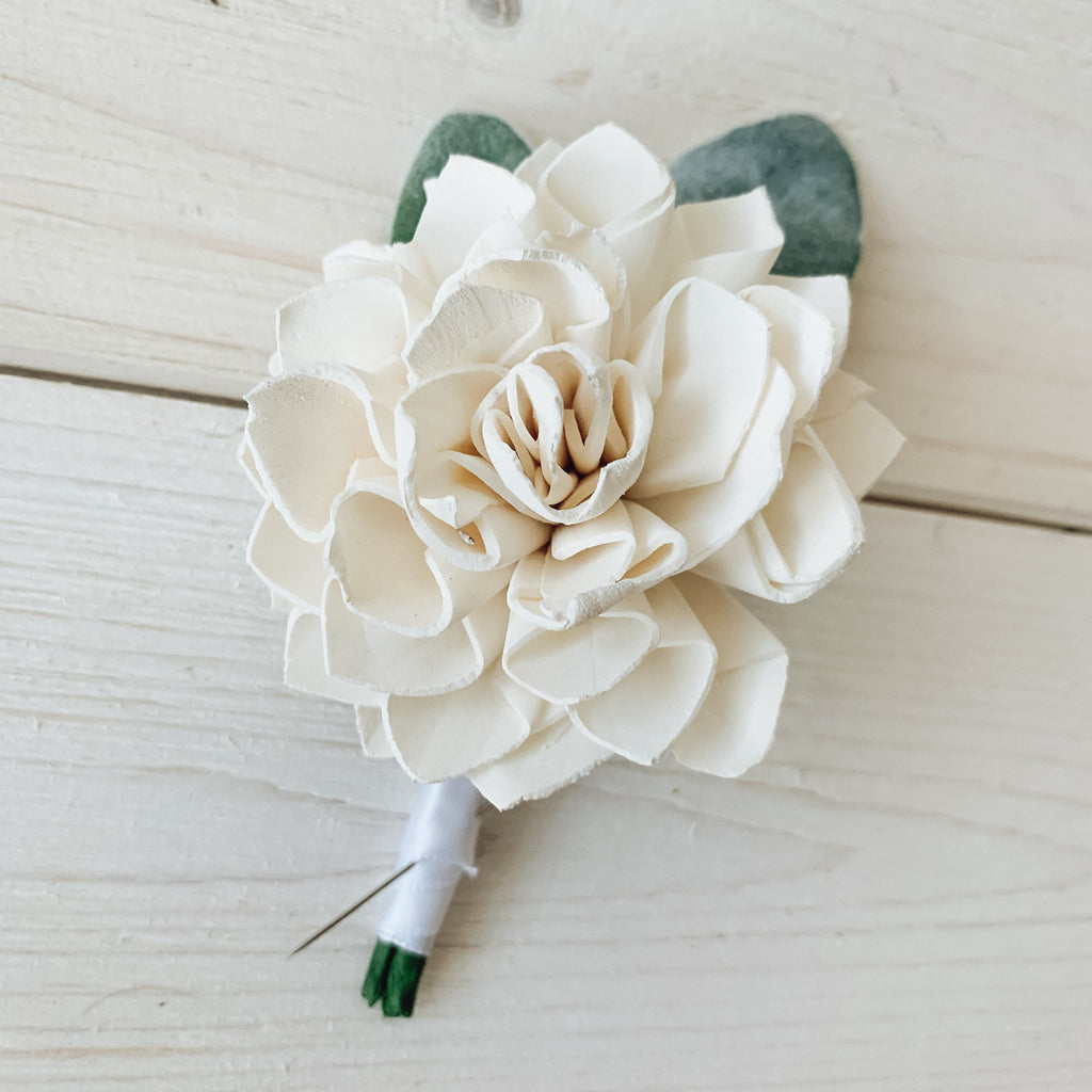 White Dahlia Sola Flower Boutonniere Boutonnières & Corsages Pine and Petal Weddings