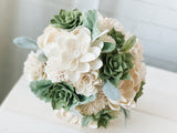 White and Green Succulent Sola Flower Bouquet - PineandPetalWeddings