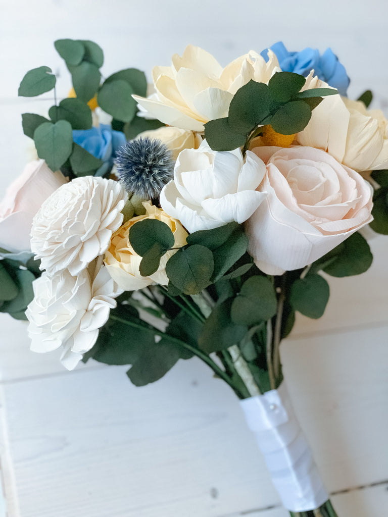 Blue, Yellow and Blush Bouquet Bouquets Pine and Petal Weddings