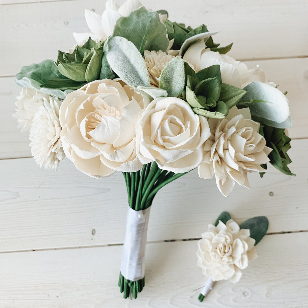 White and Green Succulent Sola Flower Bouquet Bouquets Pine and Petal Weddings