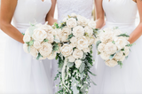 White Sola Wood Flower Bouquet With Greenery and Pearls - PineandPetalWeddings