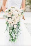 White Sola Wood Flower Bouquet With Greenery and Pearls Bouquets Pine and Petal Weddings