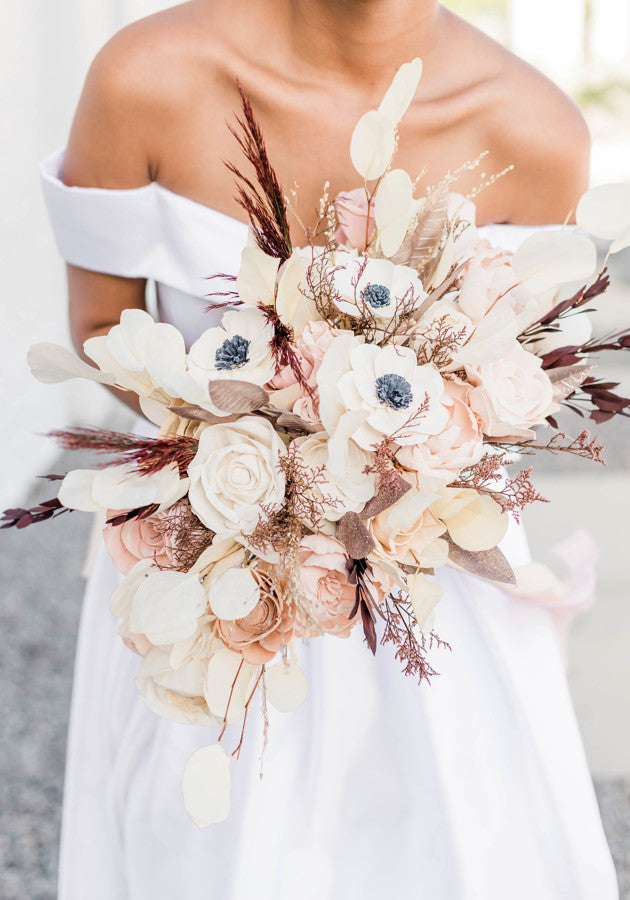 Blushing Anemone Sola Flower Oblong Bouquet - PineandPetalWeddings