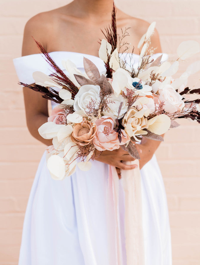 Blushing Anemone Sola Flower Oblong Bouquet - Rose Gold Bouquets Pine and Petal Weddings