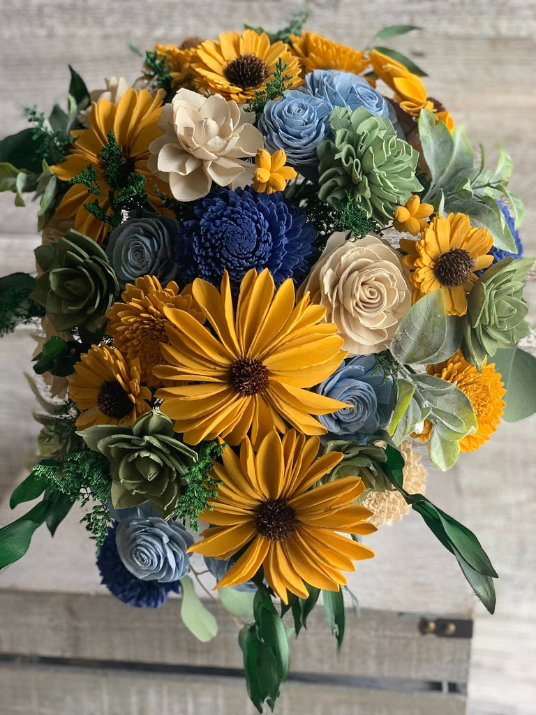 Sunflower Cascading Sola Flower Bouquet Bouquets Pine and Petal Weddings
