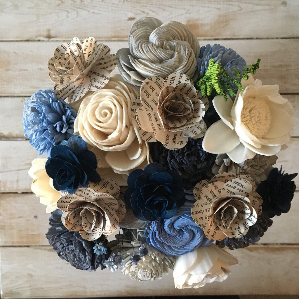 Blue, Grey and Natural Wood Book Pages Blue Flower Bouquet Bouquets Pine and Petal Weddings