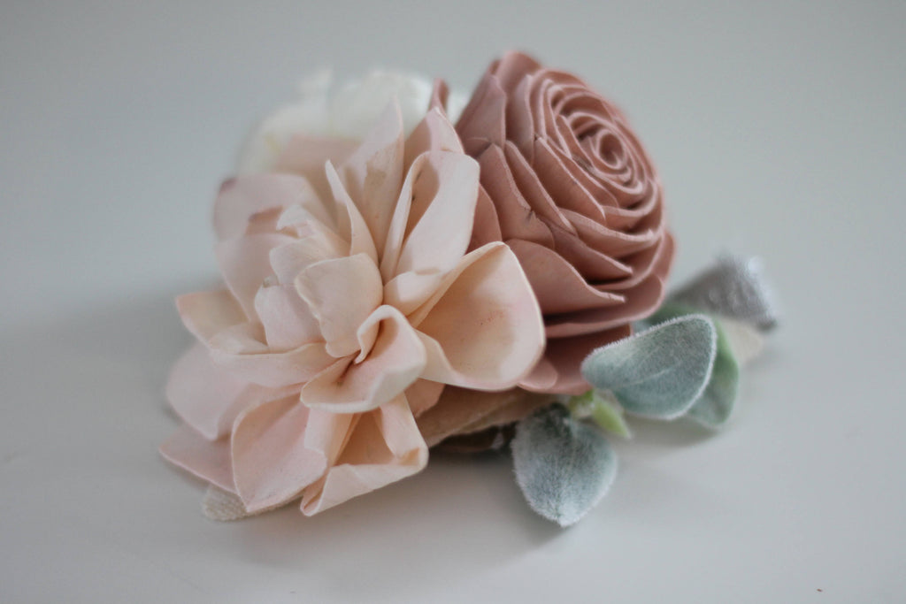 Shabby Chic Wrist Corsage Boutonnières & Corsages Pine and Petal Weddings