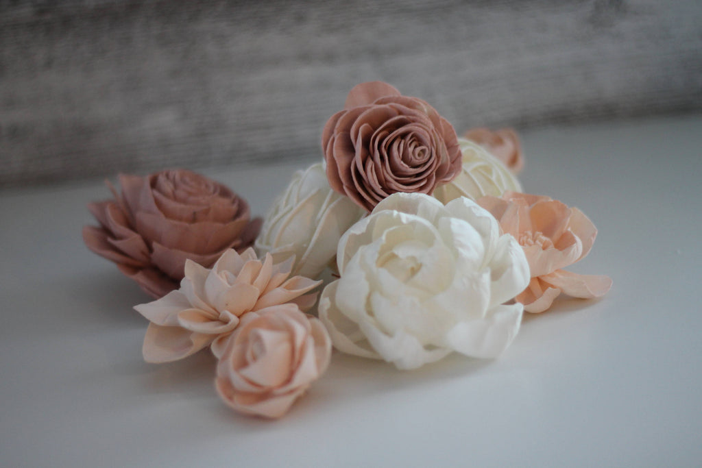 "12 Flower Assortment - Shabby Chic Loose Flowers 1-3"" Loose Flowers & Samples Pine and Petal Weddings"