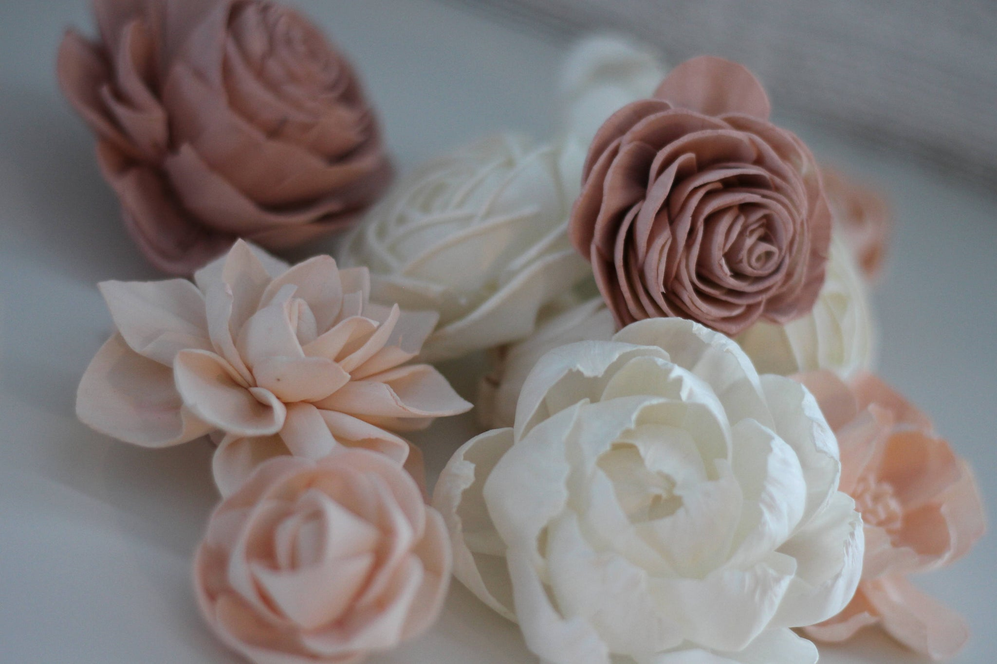Shabby Chic Loose Flowers - Wooden Flowers - Shabby Chic Wedding Collection - Pink and Blush - Custom Colors - Made to Order