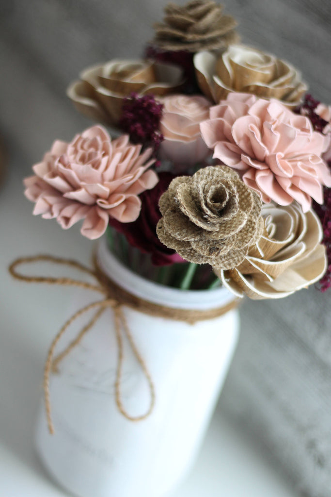 Cameo and Burlap Wooden Flower Arrangement Arrangements Pine and Petal Weddings