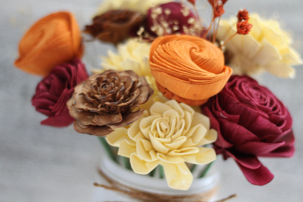 Fall Wooden Flower Arrangement Fall & Winter Collection Pine and Petal Weddings