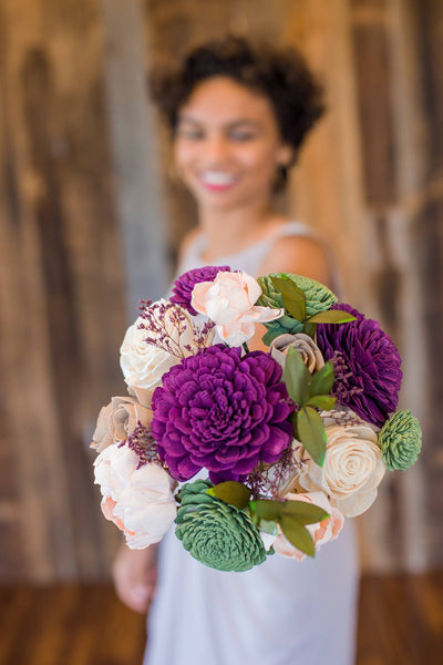 Garden Bridesmaid Bouquet - Wooden Flowers - Garden Woodland Wedding Collection - Grape, Meadow, Blush - Custom Colors - Made to Order
