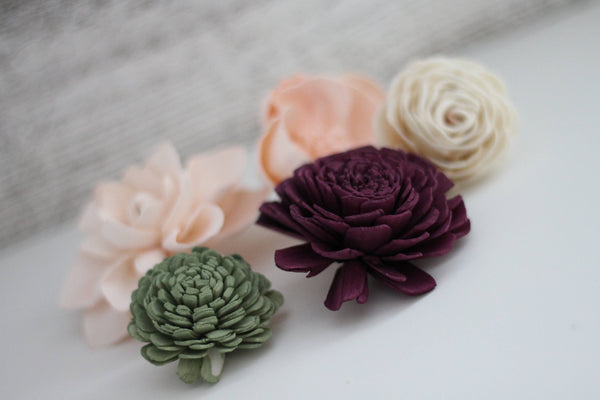 SAMPLE Garden Woodland Loose Flowers - Wooden Flowers - Garden Woodland Wedding Collection - Custom Colors - Made to Order