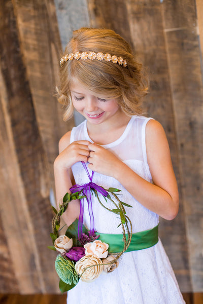 Garden Flower Girl Carrying Wreath  - Wooden Flowers - Garden Woodland Wedding Collection - Natural - Custom Colors - Made to Order