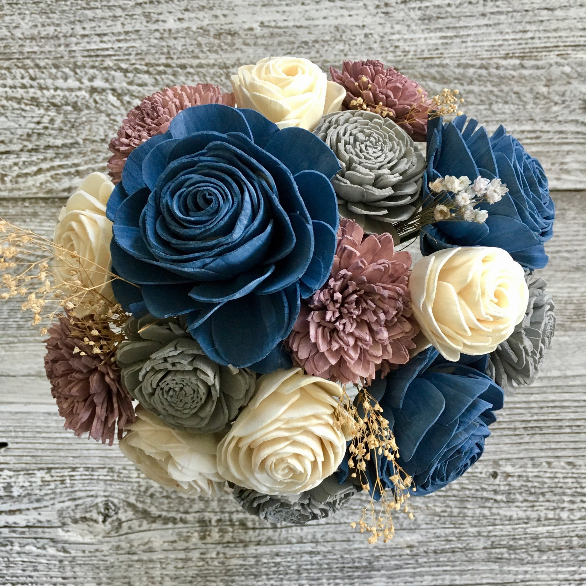 Wood Flower Bouquet - Fields of Mauve - Eco Friendly Sola Flowers - Wooden - Steel Blue, Mauve and Light Grey - Gift - Wedding - CB1010