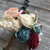 Sweet Winter Wonderland Wood Flower Bouquet - PineandPetalWeddings