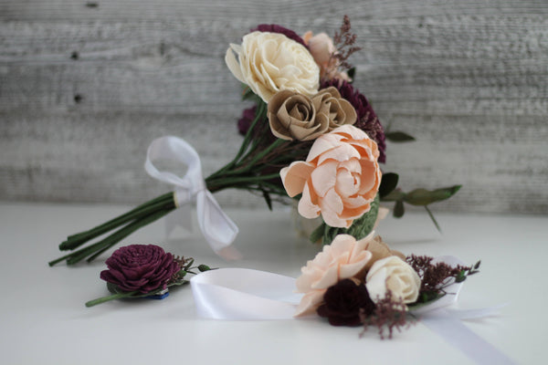 SAMPLE BOX - Garden Woodland Bridesmaid, Boutonnière and Corsage - Wooden Flowers - Boho Wedding Collection - Enchanted Woodland