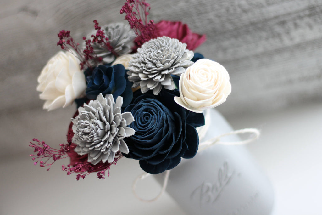 Navy and Burgundy Wooden Flower Arrangement Arrangements Pine and Petal Weddings