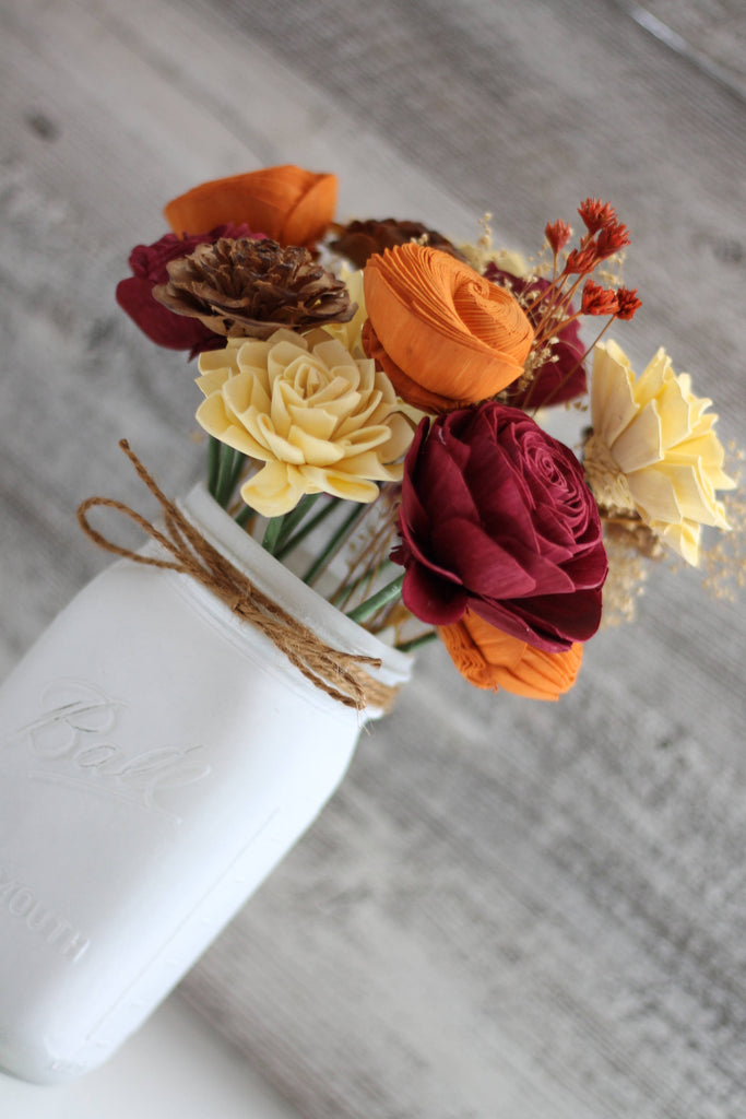 Fall Wooden Flower Arrangement - Farmhouse Flourish Collection - Rustic Decor -  Made to Order - Forever Flowers - Birthday Gift Fall & Winter Collection Pine and Petal Weddings