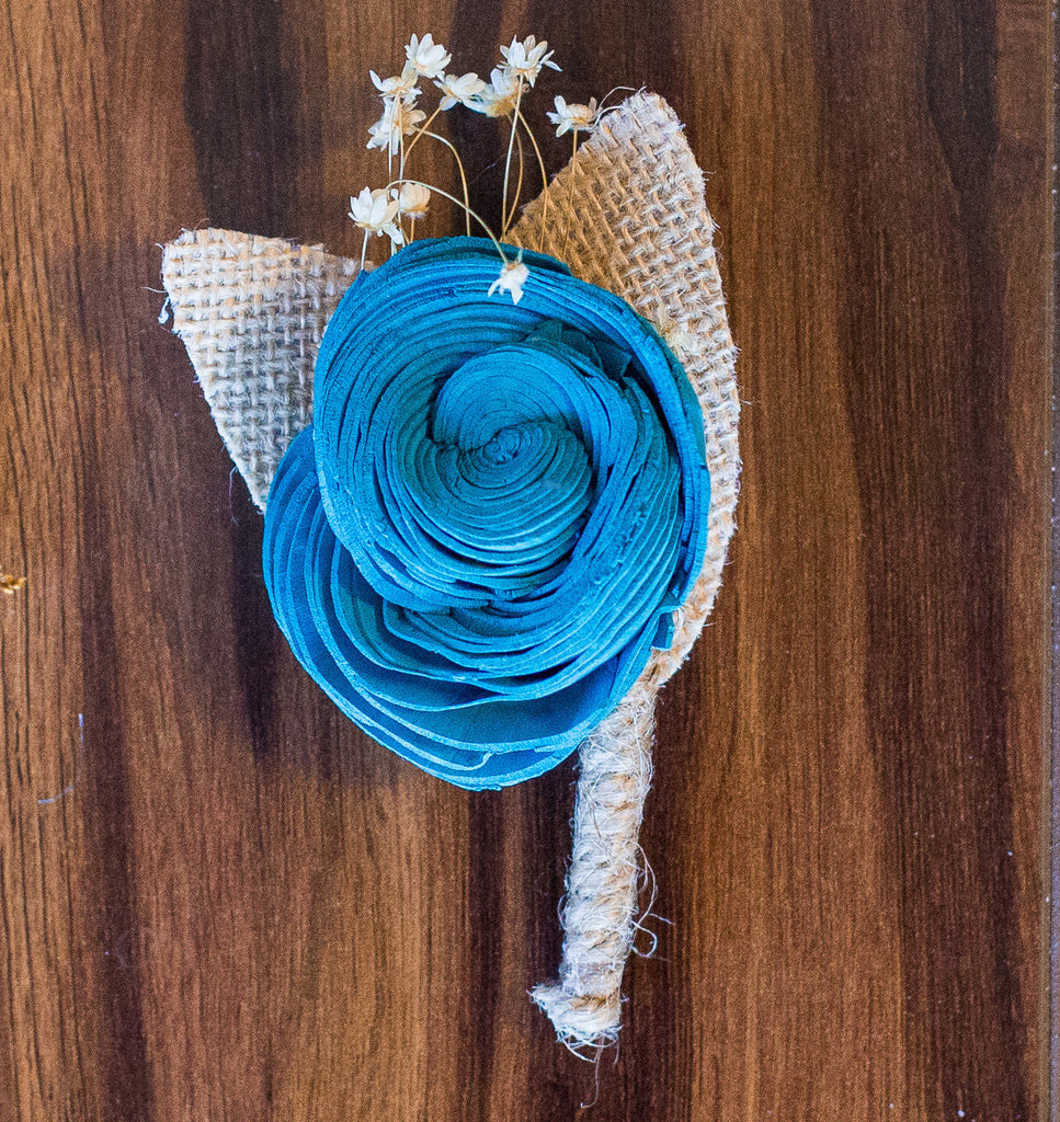 Rustic Twisted Rose Boutonnière Boutonnières & Corsages Pine and Petal Weddings
