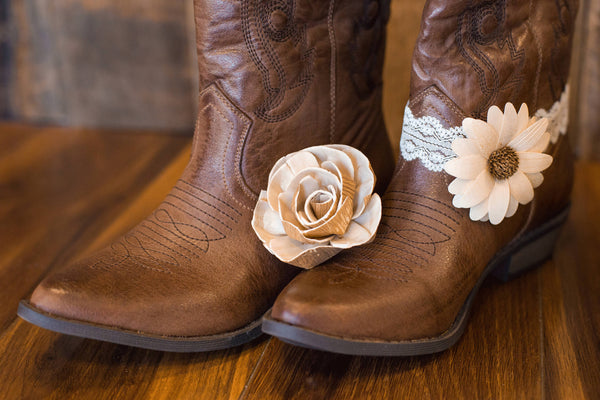 Rustic Boot Cuff - Wooden Flowers - Rustic Charm Wedding Collection - Natural - Custom Colors - Made to Order