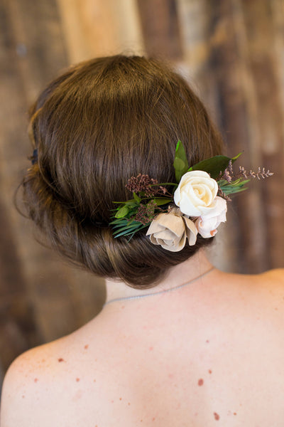 Garden Haircomb  - Wooden Flowers - Garden Woodland Wedding Collection - Natural - Custom Colors - Made to Order