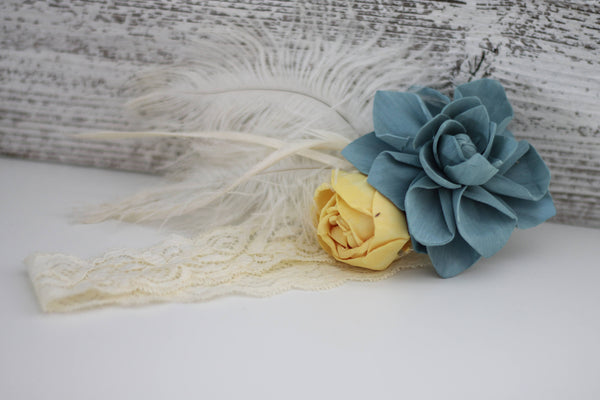 Vintage Hairband - Wooden Flowers - Timeless Vintage Wedding Collection - Natural - Custom Colors - Made to Order