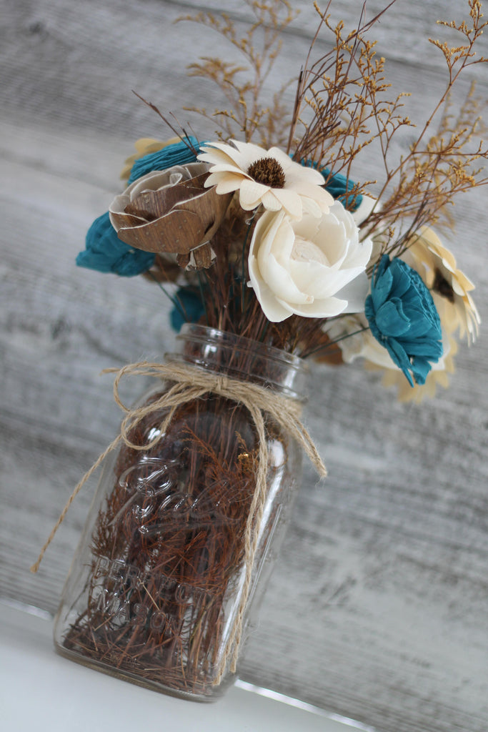 Rustic Charm Wood Flower Centerpiece Arrangements Pine and Petal Weddings