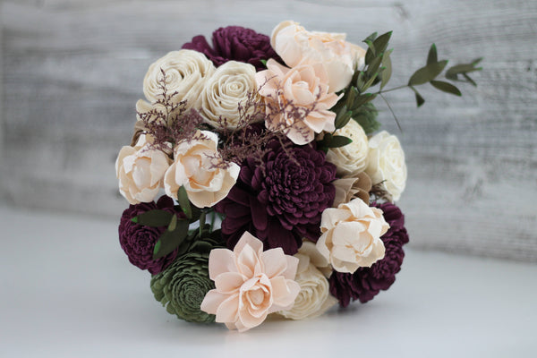 Garden Woodland Bridal Bouquet - Wooden Flowers - Garden Woodland Wedding Collection - Plum and Green - Custom Colors - Made to Order