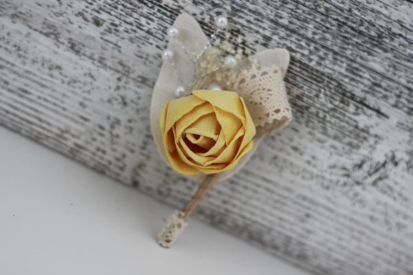 Vintage Boutonnière - Wooden Flowers - Timeless Vintage Wedding Collection - Tranquil Blue, Daisy Yellow - Custom Colors - Made to Order