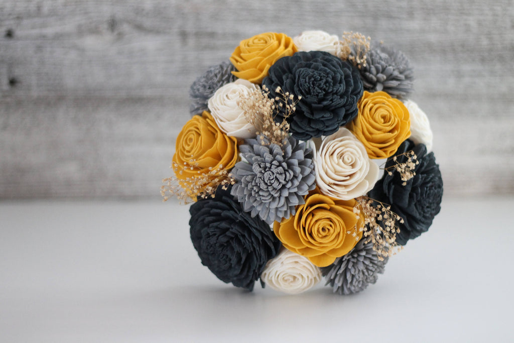 Charcoal and Yellow Wooden Flower Bouquet - PineandPetalWeddings